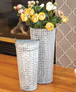 Picture of Shabby Chic Round Basketweave Wall Buckets, 2/Set