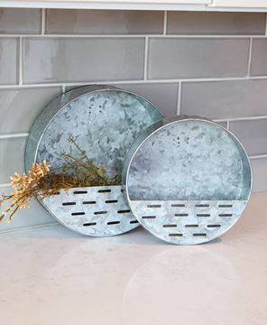 Picture of Round Olive Wall Pockets, 2/Set