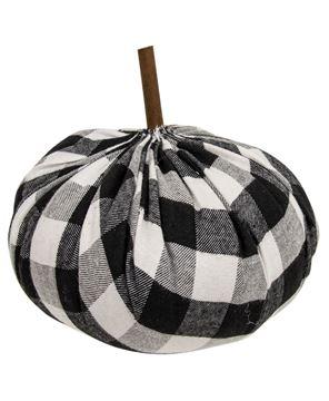 "Picture of Black & White Buffalo Check Stuffed Pumpkin 6.5"""