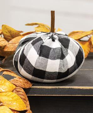"Picture of Black & White Buffalo Check Stuffed Pumpkin 5.5"""