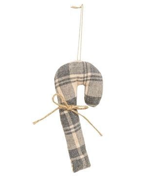 Picture of Christmas Plaid Fabric Candy Cane Ornaments, 3 Asstd.
