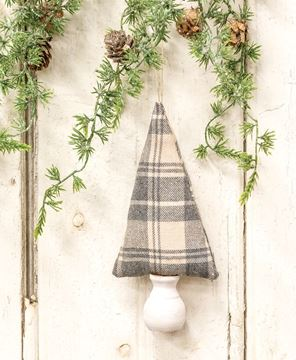 """Picture of Gray & Ivory Plaid Fabric Christmas Tree Ornament 7.5"""""""
