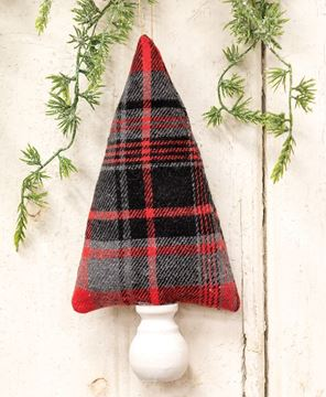 """Picture of Red, Black, Gray Plaid Fabric Christmas Tree Ornament 8"""""""