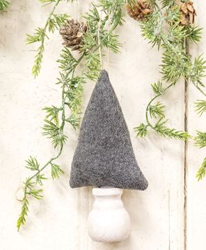 """Picture of Solid Gray Fabric Christmas Tree Ornament 6"""""""