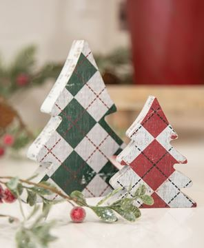 Picture of Distressed Wooden Plaid Christmas Trees, 2/Set