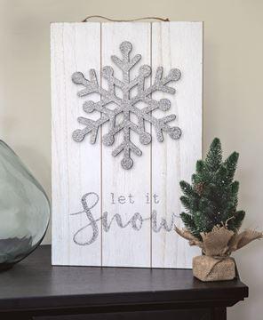Picture of Sparkle Snowflake Let It Snow Pallet Sign