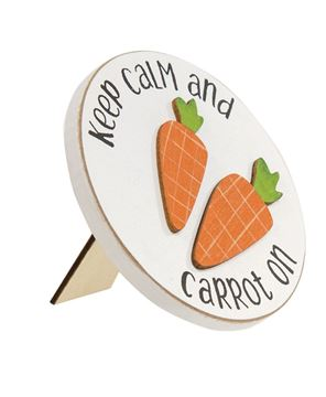 Picture of Keep Calm and Carrot On Mini Round Easel Sign, 2 Asstd.