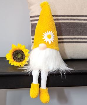 Picture of Fuzzy Yellow Flower Gnome w/Dangle Legs