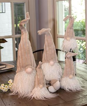 Picture of Dangle Leg Plush Beige Gnome with Ribbed Hat