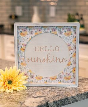 Picture of Hello Sunshine Cutout Floral Inset Box Sign