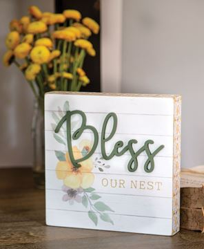 Picture of Bless Our Nest Pattern Side Box Sign