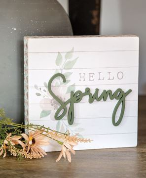 Picture of Hello Spring Pattern Side Box Sign