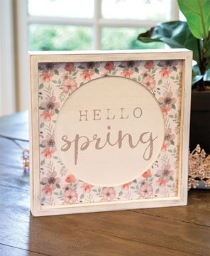 Picture of Hello Spring Cutout Floral Inset Box Sign