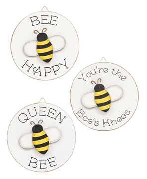 Picture of Queen Bee Mini Round Easel Sign, 3 Asstd.