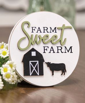 Picture of Farm Sweet Farm Round Easel Sign