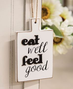 Picture of Distressed Eat Well Feel Good Cutting Board Ornament