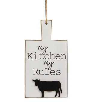 Picture of Distressed My Kitchen My Rules Cutting Board Ornament