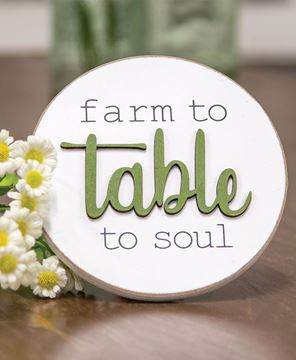 Picture of Farm to Table to Soul Round Easel Sign