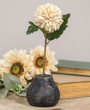 Picture of Distressed Black Wood Round Flower Holder