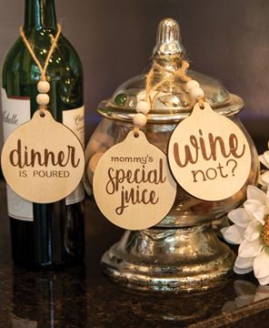 Picture of Dinner Is Poured Beaded Wine Tag, 3 Asstd.
