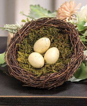 "Picture of Vine & Moss Bird Nest w/Cream Eggs, 5.5"""