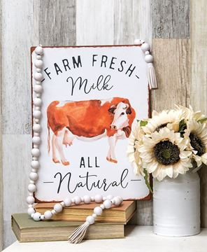 Picture of Farm Fresh Milk All Natural Distressed Metal Sign
