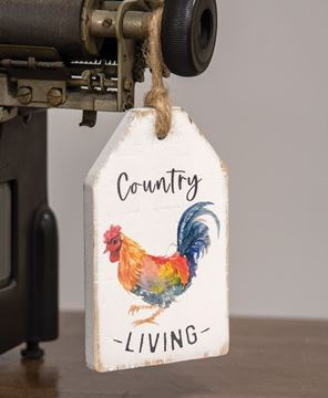 Picture of Country Living Rooster Wood Tag