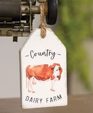 Picture of Country Dairy Farm Cow Wood Tag