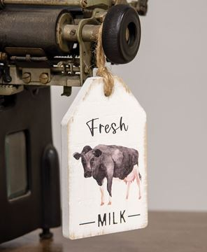 Picture of Fresh Milk Cow Wood Tag