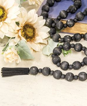 Picture of Distressed Black Bead Garland with Tassels