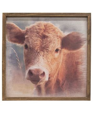 Picture of Cow Portrait Framed Print, Wood Frame