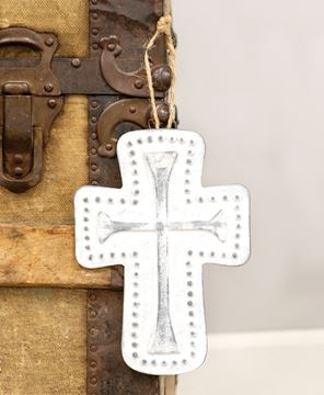 Picture of Distressed Metal Cross Dotted Ornament
