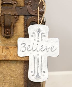 Picture of Believe Distressed Metal Cross Ornament